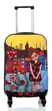 Picture of BiggDesign Çiçekli Kız Kabin Boy Kanvas Valiz 18 inch