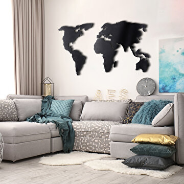 Picture of Bystag BYSM-179 World Map Silhouette Black Metal Duvar Dekoru