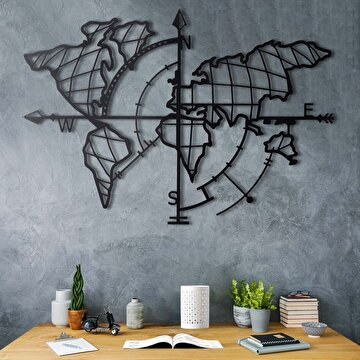 Picture of Bystag BYSM-185 World Map Compass Black Metal Duvar Dekoru