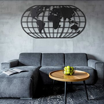 Picture of Bystag BYSM-190 World Map Globe Black Metal Duvar Dekoru