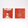 Biggdesign Kardan Adam & Geyik Taş Bardak Altlığı 2'li Set. ürün görseli