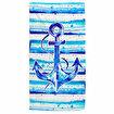 Anemoss Çapa Desenli Mavi Beyaz Plaj Havlusu. ürün görseli