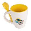 Biggdesign Nature Sarı Kaşıklı Seramik Kupa. ürün görseli