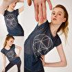 BiggDesign BiggYoga Namaste Antrasit T-Shirt. ürün görseli