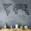 Bystag BYSM-173 World Map Geo Black Metal Duvar Dekoru. ürün görseli