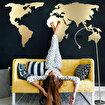 Bystag BYSM-181 World Map Silhouette Gold Metal Duvar Dekoru. ürün görseli
