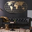 Bystag BYSM-193 World Map Globe Gold Metal Duvar Dekoru. ürün görseli