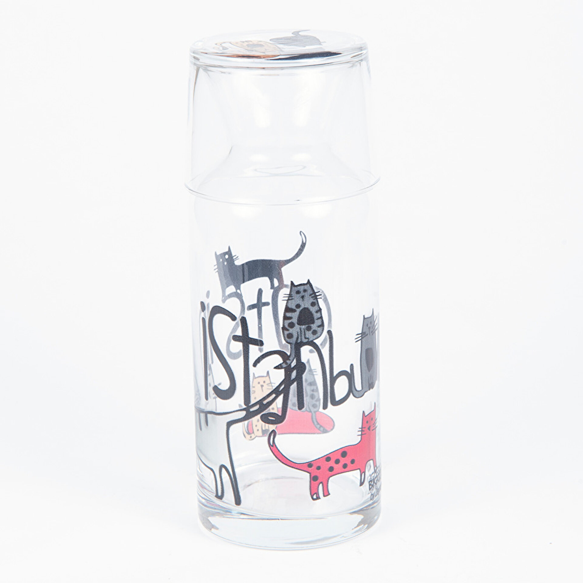Picture of BiggDesign Cats 500 ml Bardaklı Cam Sürahi