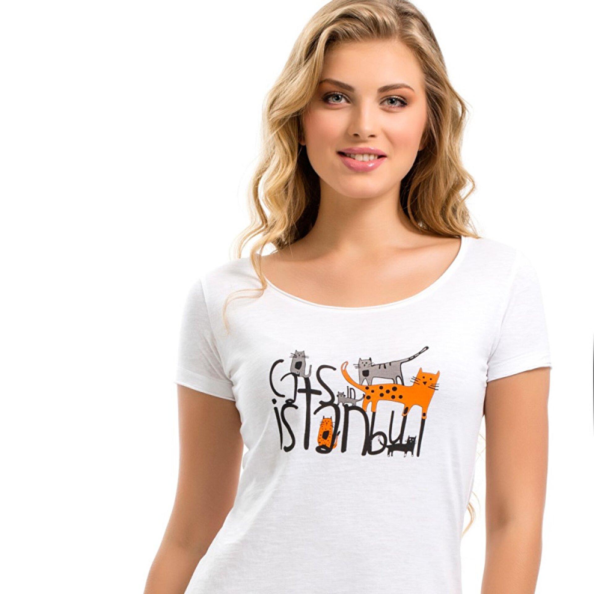 Picture of Biggdesign Cats in Istanbul Beyaz Kadın T-Shirt