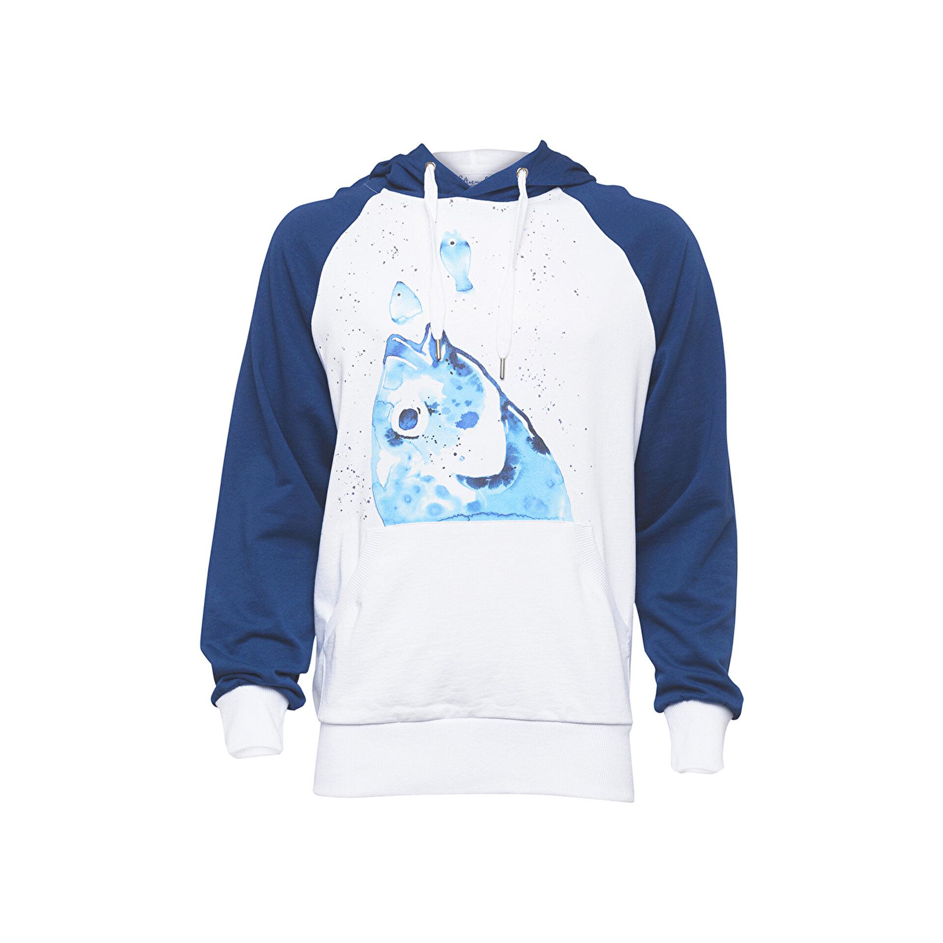 Picture of Biggdesign AnemosS Çipura Desenli Beyaz Erkek Sweatshirt
