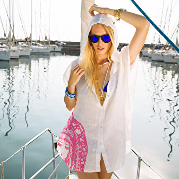 Picture of Biggdesign Mavi Su Kapüşonlu Plaj Elbisesi