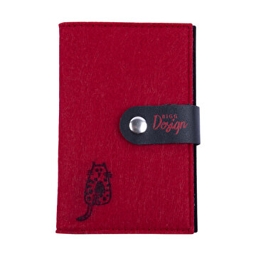 Picture of BiggDesign Cats Kırmızı Keçe Pasaport Kabı