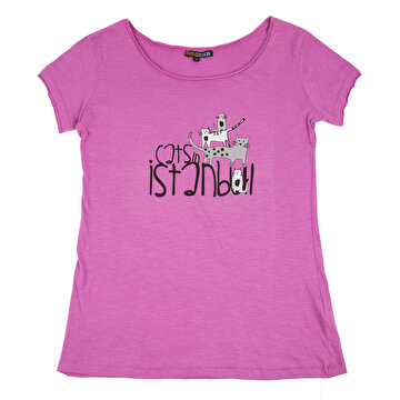 Picture of Biggdesign Cats Pembe Kadın T-Shirt