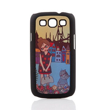 Picture of BiggDesign Galaxy S3 Siyah Kapak Çiçekli Kız
