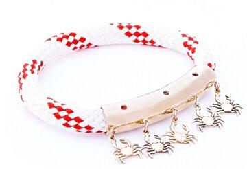 Picture of Biggdesign AnemosS Yengeç Tasarımlı Kırmızı Beyaz Halat Kadın Bileklik