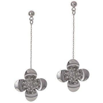 Picture of Biggbijoux Barkıel Çiçek Uzun Küpe-Gümüş Renkli