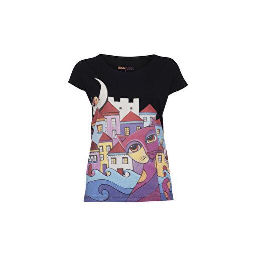 Biggdesign Owl and City Kadın T-Shirt. ürün görseli