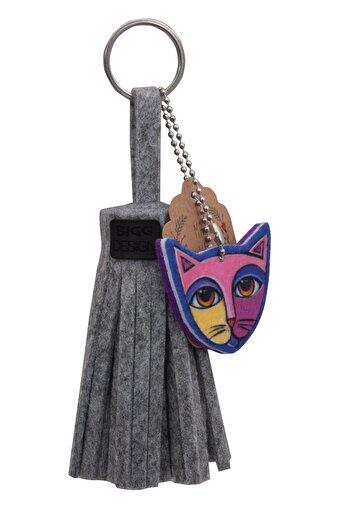 BiggDesign Kedi Püskül Keçe Anahtarlık. ürün görseli