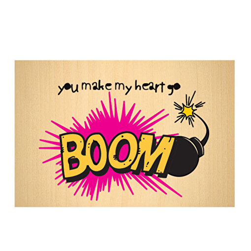 BiggDesign Boom Ahşap Kartpostal. ürün görseli