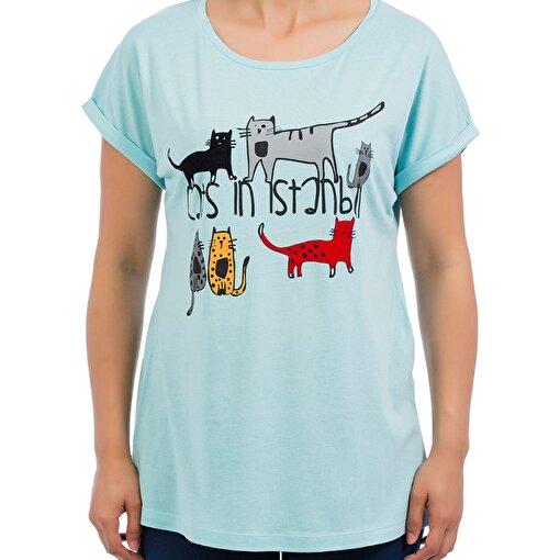 Biggdesign Cats in Istanbul Yeşil Kadın T-Shirt. ürün görseli