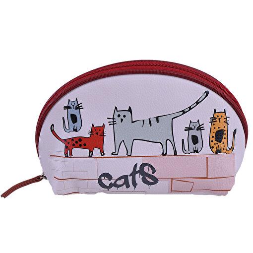 Biggdesign Cats Suni Deri Makyaj Çantası. ürün görseli