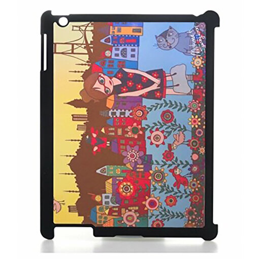 Biggdesign iPad Siyah Kapak Çiçekli Kız. ürün görseli
