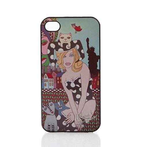 BiggDesign iPhone 5/5S Siyah Kapak Kedili Kız. ürün görseli
