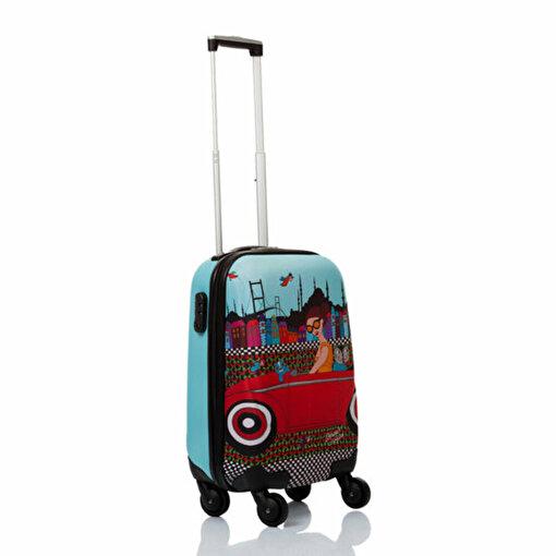 BiggDesign Arabalı Kız Kabin Boy Kanvas Valiz 18 inch. ürün görseli
