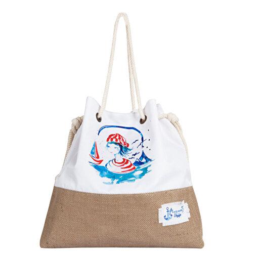 Anemoss Denizci Kız jüt Plaj Çantası. ürün görseli