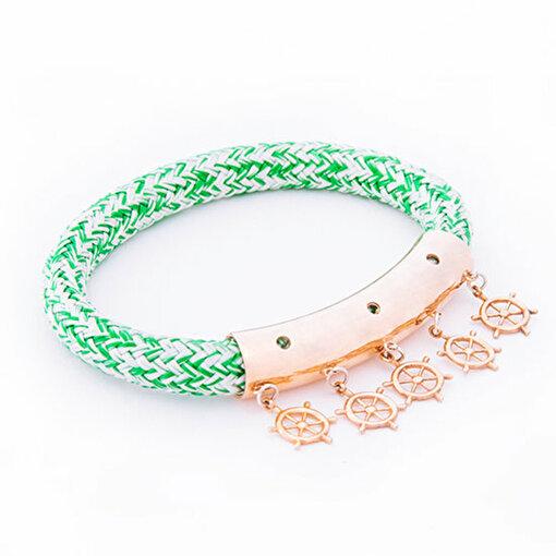 Anemoss Dümen Tasarımlı Yeşil Halat Kadın Bileklik. ürün görseli
