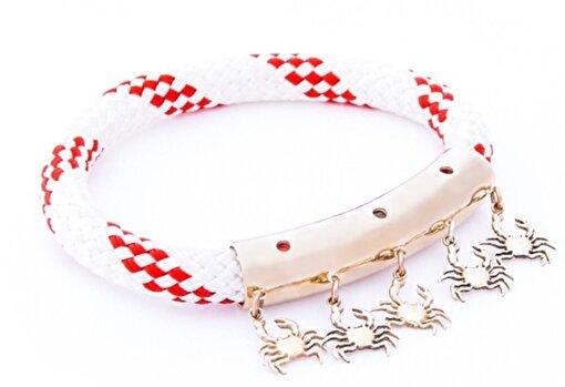 AnemosS Yengeç Tasarımlı Kırmızı Beyaz Halat Kadın Bileklik. ürün görseli