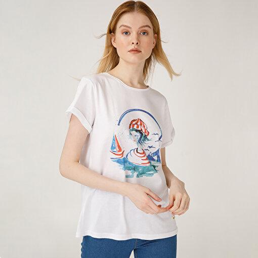 Anemoss Denizci Kız Kadın T-Shirt. ürün görseli