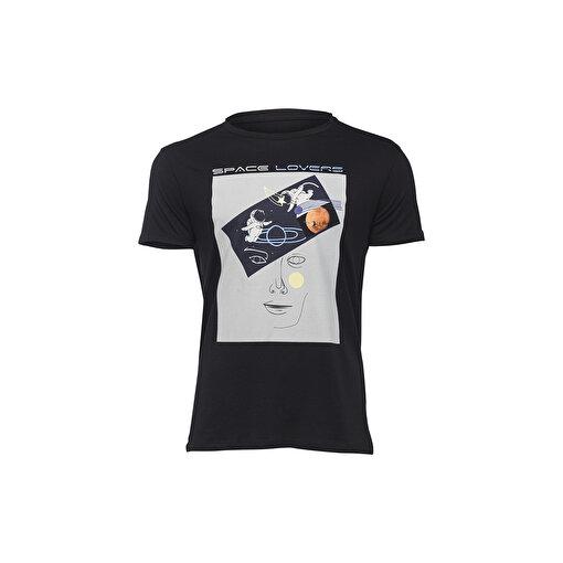 BiggDesign Faces Space Lovers Erkek T-Shirt. ürün görseli