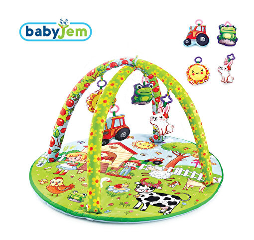 Babyjem Oyuncaklı Oyun Minderi Çiftlik Yuvarlak. ürün görseli