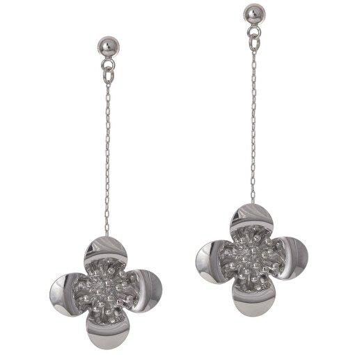 Biggbijoux Barkıel Çiçek Uzun Küpe-Gümüş Renkli. ürün görseli