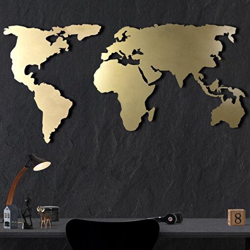 Bystag BYSM-184 World Map Silhouette XL Gold Metal Duvar Dekoru. ürün görseli