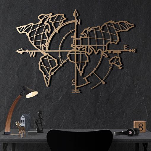 Bystag BYSM-188 World Map Compass Gold Metal Duvar Dekoru. ürün görseli