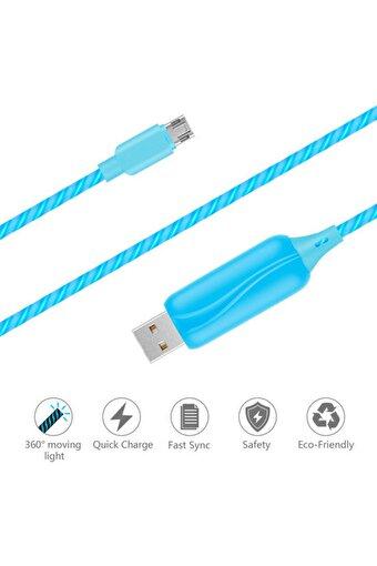 Doppler S-Cable Micro USB Işıklı, Mavi. ürün görseli