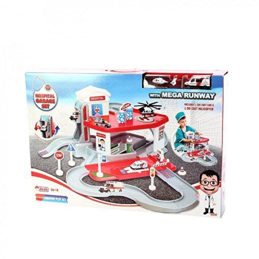 Dede Ambulans Arabası ve Helikopterli Hastane Garaj Seti 2 Katlı. ürün görseli