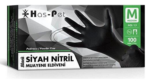 Has-Pet Siyah Nitril Pudrasız Eldiven M 100 lü. ürün görseli