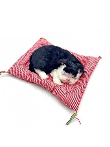 Keep London Kids Yastık Üzerinde Uyuyup Miyavlayan Oyun ve Uyku Arkadaşı Peluş Kedicik. ürün görseli
