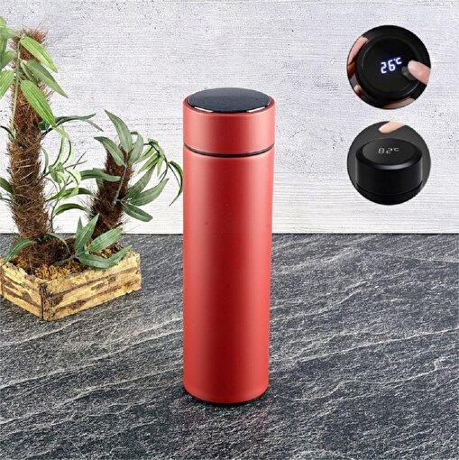 KL Outdoor Dijital Led DereceLi 500ML 24Saat Soğuk/12 Saat Sıcak Paslanmaz Çelik Termos Red. ürün görseli