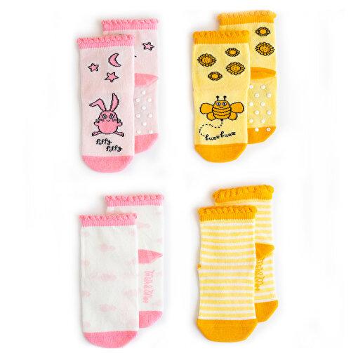 Milk&Moo Arı Vız Vız ile Çançin 4'lü Bebek Çorabı 0-12 . ürün görseli