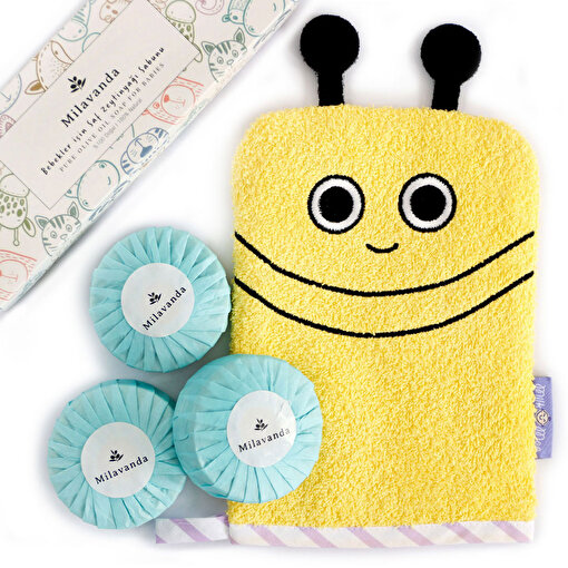Milk&Moo Arı Vız Vız Çocuk Banyo Kesesi ve Milavanda 3'lü Sabun Seti. ürün görseli