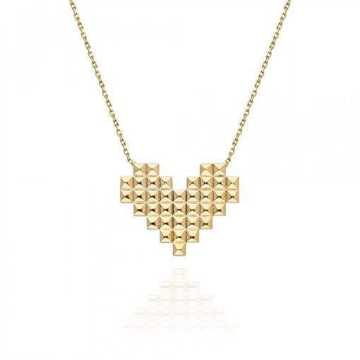 Pink Gold Store Piksel Kalp 14 Ayar Altın Kolye. ürün görseli