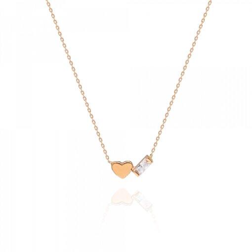 Pink Gold Store Shapes From Heaven Kalpli Baget 14 Ayar Altın Kolye. ürün görseli