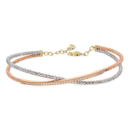 Pink Gold Store Ria 2'li Dorikalı Su yolu Altın Bilezik. ürün görseli