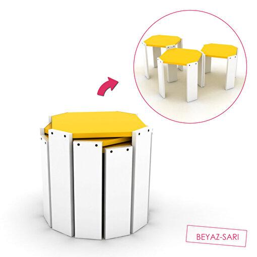 Rafevi Hansel Zigon Sehpa Beyaz-Sarı. ürün görseli