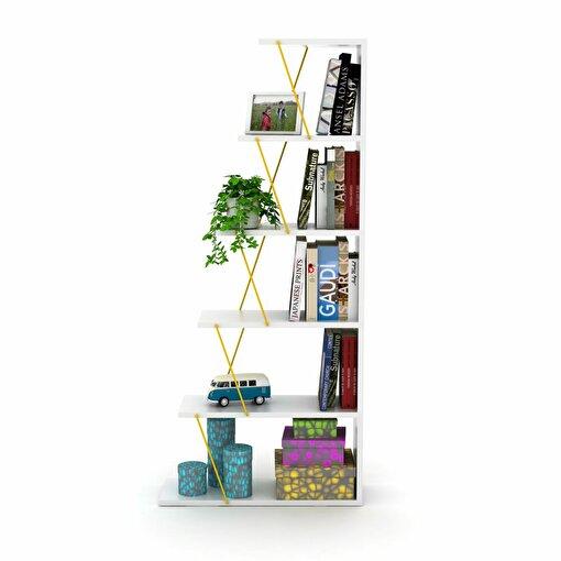 Rafevi Tars Kitaplık Mini Beyaz-Sarı. ürün görseli