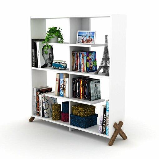 Rafevi Kipp Kitaplık Ceviz-Beyaz. ürün görseli